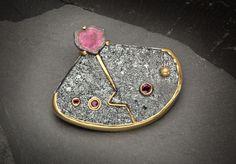 Divine Sparks series,,,,,,Hematite, rubies, tourmaline, silver 22K, 24K gold by Elizabeth McDevitt