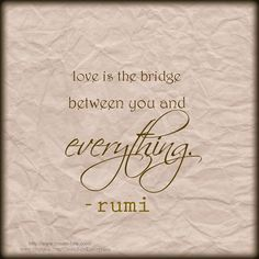 Love is the bridge. Great Quotes, Quotes To Live By, Love Quotes, Word Nerd, Word 2, Jalaluddin Rumi, Inspirational Words Of Wisdom, Rumi Quotes, Positive Inspiration