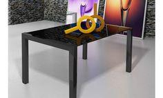 Mesa de comedor de cristal negro con dos alas extensibles.120x90x76