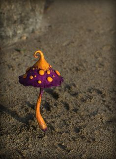 Purpleish orange white amanita fairy garden fantasy by Petradi