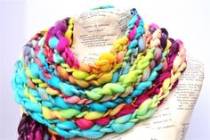 Valentine Scarf Big Box of Crayons Rainbow Chunky Knit Thick and Thin Merino Art Yarn PREORDER. $89.00, via Etsy.