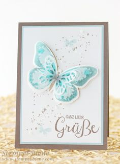 Stampin Up Watercolor Wings, Einfache Grußkarte, Schmetterlingskarte STampin Up, Stampin Up Gute Gedanken, Stampin Up Bestellen, Stampin Up Katalog 2015, Stampin Up Stempelparty, Stempel-biene (Step Card Ideas)