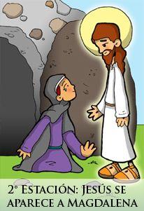 2ª Estación: Jesús resucitado se aparece a María Magdalena. Jn 20, 11-18