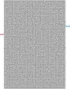 Level 5 von 5 - schwer; Alter: ab 12 Jahre; Mazes to Print - Mega Rectangle Mazes