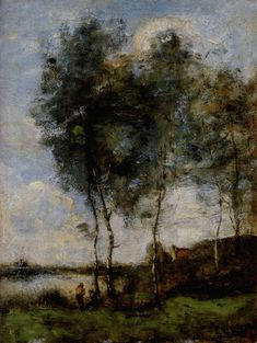 """Fisherman by the River Bank"" by Camille Corot"