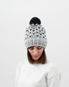 fc8c74f2b6a Knit Hat Pattern. Minimal fair isle design. Easy hat pattern by Forefolk  Cable Knit