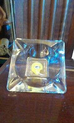 ANTIQUE GLASS GREEN BAY PACKERS ASH TRAY FROM THE 1960S,1 BAR HELMET LOGO.