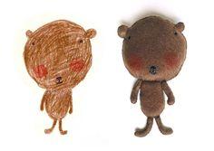 Stuffed animal from kids drawing. Great idea!
