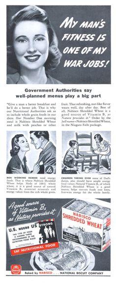 Nabisco Shredded Wheat (1942). Vintage Food, Vintage Recipes, Vintage Ads, Vintage Images, Strange People, Crazy People, Old Advertisements, Advertising, Sources Of Vitamin B
