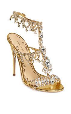 Crystal & Gold leather Grace Sandal by Marchesa Dream Shoes, Crazy Shoes, Me Too Shoes, Marchesa Shoes, Stilettos, Stiletto Heels, Shoe Boots, Shoes Heels, Heeled Sandals