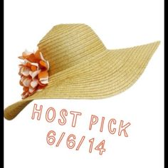 "HOST PICKFashion floppy Sun Hat FUN, FASHION FLOPPY SUN HAT WITH FLOWERS this is a fun hat to wear out on the beach to keep the sun rays from your face. The flower is so pretty with its orange and white summery colors. It is a woven natural color hat and it is aprox. 19"" in diameter. Very pretty and fun. Accessories Hats"
