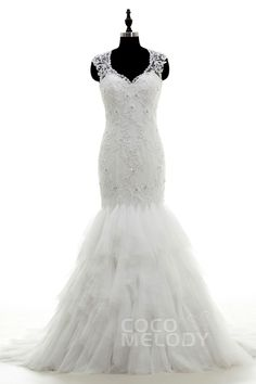 Dramatic+Trumpet-Mermaid+V-Neck+Dropped+Court+Train+Tulle+and+Lace+Ivory+Sleeveless+Key+Hole+Wedding+Dress+with+Appliques+and+Beading+LWAT1503A