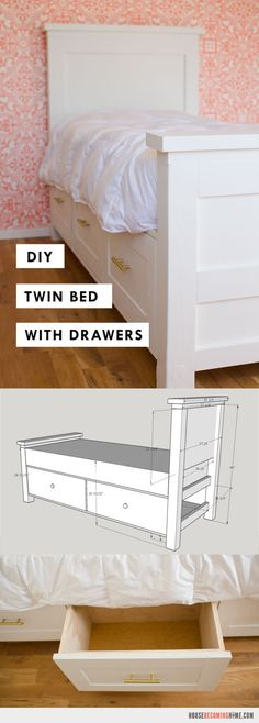DIY Twin Bed with Storage Drawers. DIY_twin_bed_with_drawers_plans. DIY twin bed with drawers. Diagram, photos, materials list and instructions for putting together the DIY twin bed. Kids Beds With Storage, Twin Storage Bed, Bed Frame With Storage, Home Design, Design Design, Design Ideas, Diy Twin Bed Frame, Diy Frame, Wood Twin Bed