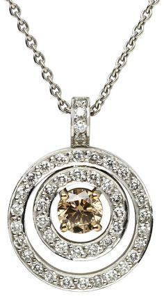 Cognac and white diamond pendant