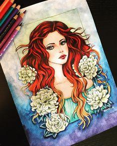 🌼🌼🌼Women of Flowers🌼🌼🌼, Grazia Salvo @creatureincantate , #creatureincantate #flowers #coloringbooks #coloringforadults #coloringfun #polychromos #staedtlermars #coloriage