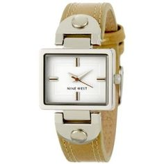Click on the image for more details! - Nine West Women's NW1147WTCM Silver-Tone Rectangular Natural Camel Strap Watch (Watch)