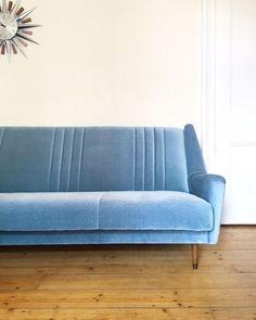Vintage 1950's Blue Sofa Bed Mid Century Retro