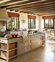 Love this 'country' kitchen in Majorca ~  the only thing I would change is the blinds