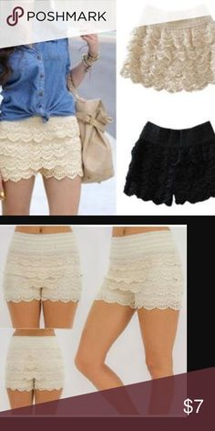 Canclay layered lace shorts Cream CANCLAY Lace shorts. Super cute! 100 % Cotton Canclay Shorts