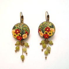 Green Earrings Multiflowers Earrings by FairyFlowersJewels on Etsy
