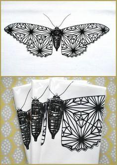 Screenprint for embroidery, moth - tryk til broderi, natsværmer
