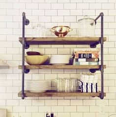 how to build wall hung industrial pipe shelves - Google Search