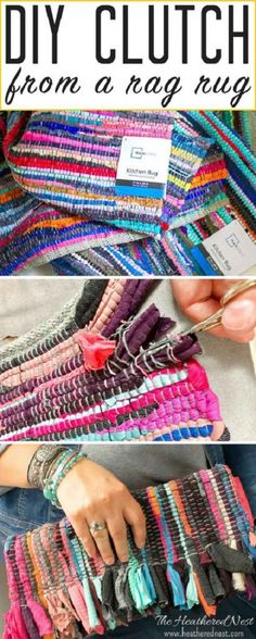 Create this adorable DIY purse from an inexpensive rag rug!