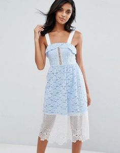 74335aec53 Shop River Island Embroided Lace And Mesh Midi Dress at ASOS.