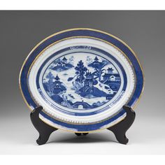 from Pia's Antique Gallery on Ruby Lane, a 19th C. Blue & White Oval Nanking Chinese Export Platter