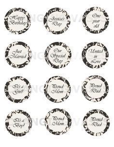 Custom Printable Cupcake Topper Black and White by ChangingVases, $3.00