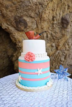 The Little Mermaid Wedding Details  Photographed by Jessica Frey-Very cute and original and simple cake. =) <3 Perfect for a 'beachy-type' wedding