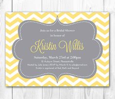 Chevron Bridal Shower Invitation. Chevron Baby Shower Invitation in Yellow & Gray. DIY Printable Bridal Shower Invite.