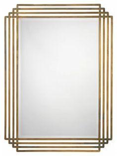Line Motif Mirror, Brass - Wall Mirrors - Mirrors Brass Mirror, Decor, Interior Deco, Art Deco Mirror, Accent Mirrors, Living Room Decor Modern, Interior, Mirror, Floor Design