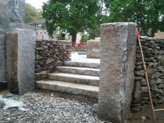 stone piers Masonry Work, Garden Walls, Landscape Elements, Stone Barns, Rock Wall, Paving Stones, Garden Stones, Stone Work, Amazing Architecture