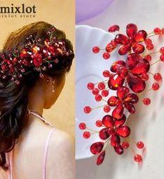 Esküvői hajdísz Red Hair Accessories, Wedding Hair Accessories, Jewelry Accessories, Wedding Hair Pins, Wedding Headband, Red Flowers, Flowers In Hair, Crystal Flower, Hair Jewelry