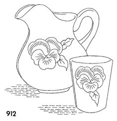 pitcher and cup with pansy, embroidery pattern