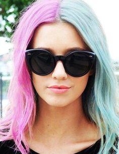 DIY Halloween Hair: DIY Halloween Hairstyles : Two-tone Ombre Temporary Dip Dye Hair Chalk