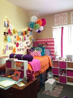 Not a big fan of all the colors but I absolutely love the setup. Definitely doing something similar for my dorm room next year.