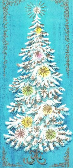Vintage Christmas card with a white Christmas tree.