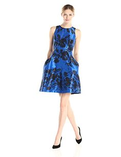 Donna Morgan Womens Fit and Flare Printed Dress Royal BlueBlack 14 ** More info could be found at the image url.