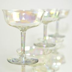 iridescent crystal goblets | Iridescent Luster Crystal Cordial Stemware Goblets - Beautiful Aurora ...