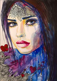 I love you  watercolor  painting print 8 x 12 Woman by SlaviART, $25.00
