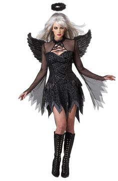 She's fallen from grace at a sinister pace in the Sexy Black Fallen Angel Dress Costume.