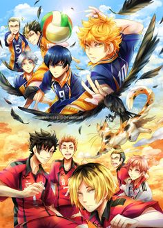 Haikyuu!! ~~ Cats and Crows :: [ Karasuno / Nekoma (plastic folder front) by Evil-usagi.deviantart.com on @deviantART ]