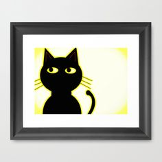 """Cute Black Cat"" comic book effect in yellow Framed Art Print by Jensen Merrell Designs 