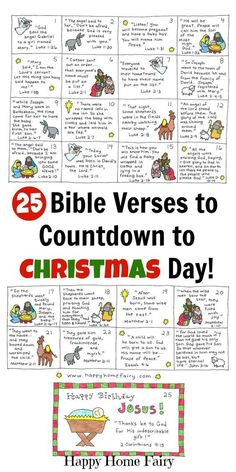 25 Bible Verses to countdown to Christmas with kids! Each card is written with a short and simple verse from the Christmas story about Jesus' birth! Perfect for Advent calendars or for your Elf on the Shelf to deliver each day!!!