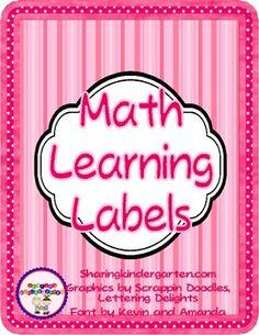 Math Learning Labels- Kindergarten (Word Doc) Good Idea!