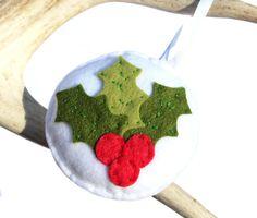 Holly Christmas Ornament _ sillyollie.etsy.com