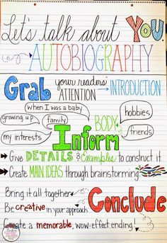 Upper Elementary Snapshots: Awesome Autobiographies in the Upper Grades Autobiography Template, Autobiography Project, Autobiography Writing, Writing Lessons, Teaching Writing, Writing Skills, Writing Activities, Teaching Ideas, Learning Skills