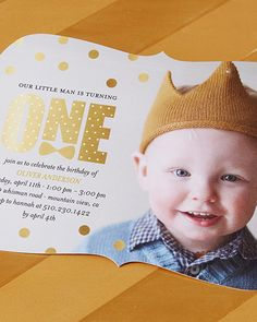 Celebrate your little man as he turns one with first birthday party invitations that fit his style. | Tiny Prints